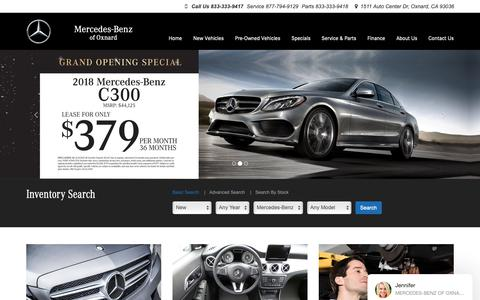 Screenshot of Home Page mbofoxnard.com - Mercedes-Benz Dealer in Oxnard, CA | Used Cars Oxnard | Mercedes-Benz of Oxnard - captured Nov. 15, 2018