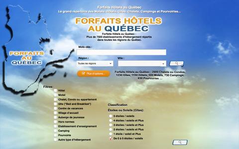 Screenshot of Home Page conceptinformatique.ca - Forfaits au Québec-Établissements d'hébergement Hôtel B&B Auberge - captured Oct. 2, 2014