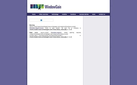 Screenshot of Press Page windowgain.com - Out of Home Company  : Ultra High-Definition Out-of-Home Advertising :: WindowGain, Inc - captured Oct. 7, 2014