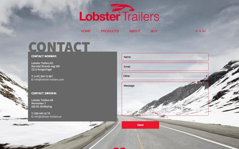 Screenshot of Contact Page lobster-trailers.com - Contact - captured Oct. 2, 2014