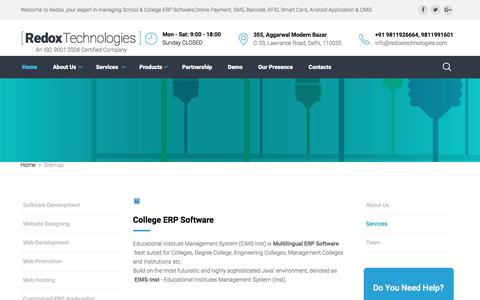 Screenshot of Site Map Page redoxtechnologies.com - Redox Technologies |  ERP Software development Company for University,College,Schools,Institutes,Engineering Colleges,Management Colleges,Medical Colleges,Nursery   School,College ERP Software,School ERP Solutions,ERP for School and Colleges,EIMS,Col - captured July 1, 2017