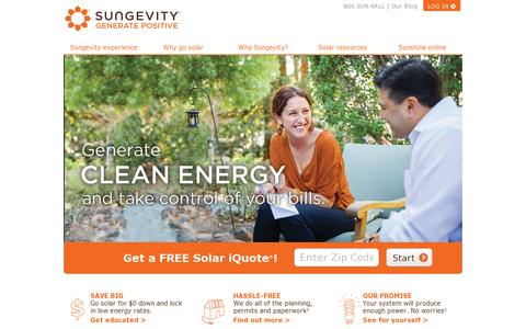 Screenshot of Home Page sungevity.com - Sungevity | Home Solar  | Go Solar and Save! | Sungevity - captured July 17, 2014