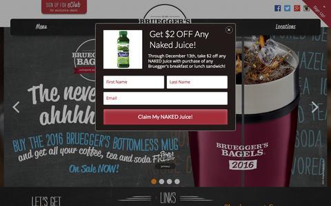 Screenshot of Home Page brueggers.com - Home - Bruegger's Bagels - captured Dec. 1, 2015