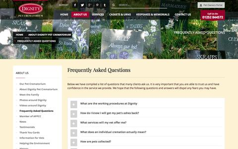Screenshot of FAQ Page dignitypetcrem.co.uk - Frequently Asked Questions - Dignity Pet Crematorium - captured Nov. 24, 2016