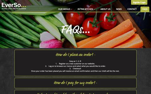 Screenshot of FAQ Page everso.co.uk - FAQs - EverSo Catering - captured Sept. 29, 2018