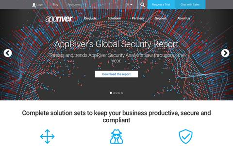 Screenshot of Home Page appriver.com - Cybersecurity, Productivity and Compliance Solutions for Business | AppRiver - captured Feb. 11, 2019