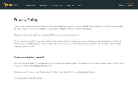 Screenshot of Privacy Page yeahmobi.com - Privacy Policy | Yeahmobi - captured July 4, 2016