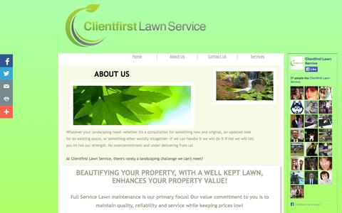 Screenshot of About Page Privacy Page clientfirstlawns.com - About Us - captured Oct. 22, 2014