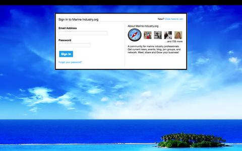 Screenshot of Login Page marineindustry.org - Marine Industry.org - captured Oct. 26, 2014