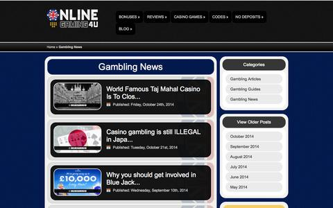 Screenshot of Press Page onlinegaming4u.com - Gambling News | OnlineGaming4u - captured Oct. 26, 2014