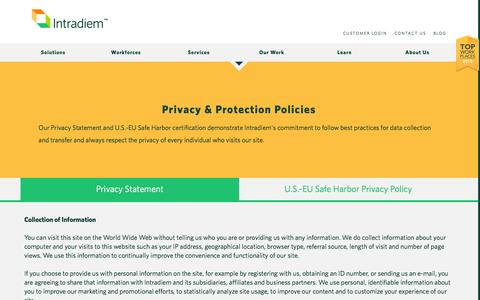 Screenshot of Privacy Page intradiem.com - Privacy & Protection Policies | Intradiem - captured Dec. 4, 2015