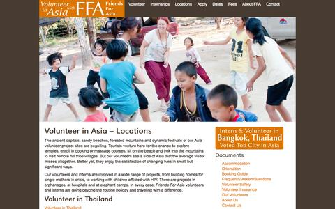 Screenshot of Locations Page friendsforasia.org - Volunteer in Asia – Locations | Friends for Asia - captured Sept. 30, 2014