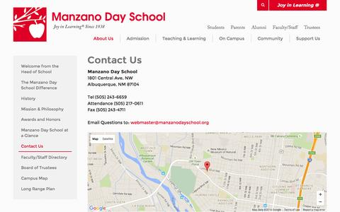 Screenshot of Contact Page Maps & Directions Page manzanodayschool.org - Manzano Day School: Contact Us - captured June 19, 2016