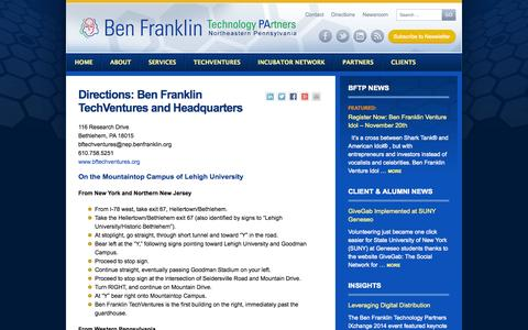 Screenshot of Maps & Directions Page benfranklin.org - Directions: Ben Franklin TechVentures - captured Sept. 17, 2014