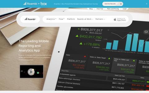 Screenshot of Home Page roambi.com - Roambi | Mobile Analytics | Mobile Reporting | Mobile BI - captured July 17, 2014