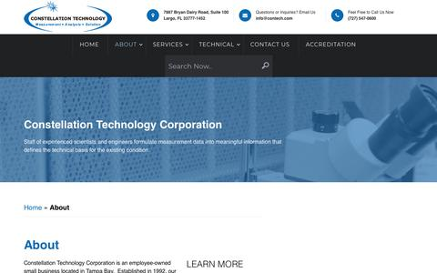 Screenshot of About Page contech.com - About - Chemical,Mechanical,Metallurgical Analysis Services - captured Sept. 29, 2018
