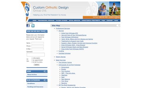Screenshot of Site Map Page customorthotic.ca - CODG  - - captured Oct. 3, 2014