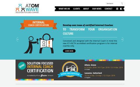 Screenshot of Home Page atom-wave.com - Home : Solution Focus Change Atom Wave - captured July 31, 2018