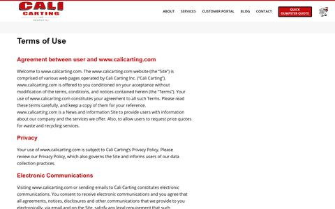 Screenshot of Terms Page calicarting.com - Terms & Conditions | NJ Waste Management Service | Cali Carting - captured Jan. 6, 2020