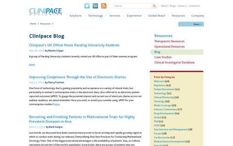 Screenshot of Blog clinipace.com - Clinipace Blog - captured July 19, 2014
