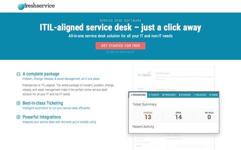 Screenshot of Landing Page freshservice.com - ITIL-aligned Service Desk Solution | Freshservice - captured June 1, 2016