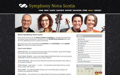 Screenshot of About Page symphonynovascotia.ca - Symphony Nova Scotia - About - captured Oct. 10, 2014
