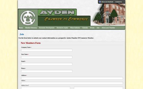 Screenshot of Signup Page aydenchamber.com - Join   Ayden Chamber of Commerce - captured Oct. 4, 2014