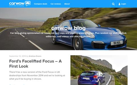 Screenshot of Blog carwow.co.uk - Car Blog - Blog and News | carwow - captured Sept. 13, 2014