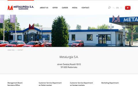 Screenshot of Contact Page metalurgia.pl - Contact - captured Oct. 18, 2017