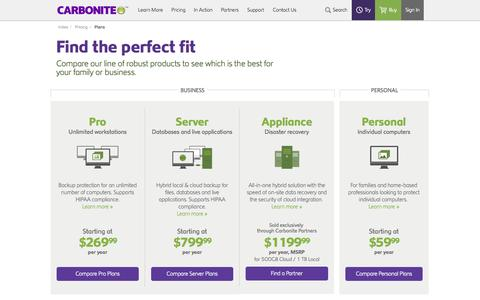 Screenshot of Pricing Page carbonite.com - Online Backup Plans & Pricing | Carbonite Back Up Plan - captured Oct. 28, 2014
