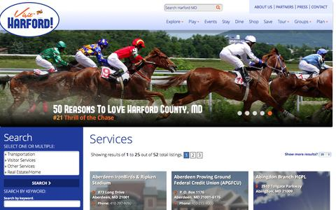 Screenshot of Services Page visitharford.com - Services Harford County, MD | Maryland Tourism & Getaways - captured March 11, 2016