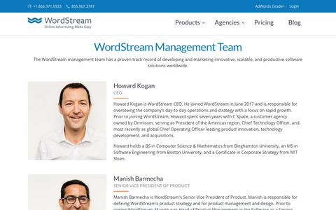 Screenshot of Team Page wordstream.com - WordStream Leadership - captured April 19, 2018
