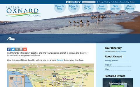 Screenshot of Maps & Directions Page visitoxnard.com - Map - Visit Oxnard - captured Nov. 11, 2016