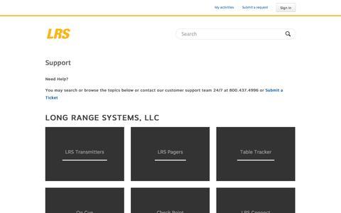 Screenshot of Support Page lrsus.com - Long Range Systems, LLC - captured Sept. 19, 2014