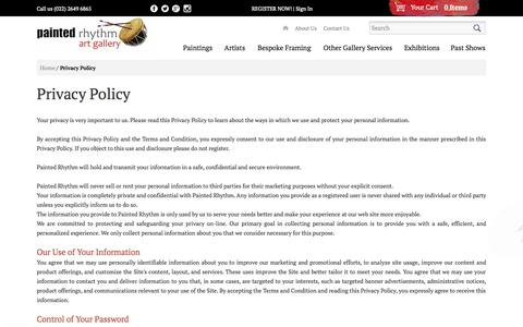 Screenshot of Privacy Page paintedrhythm.com - Privacy Policy - captured Oct. 1, 2014