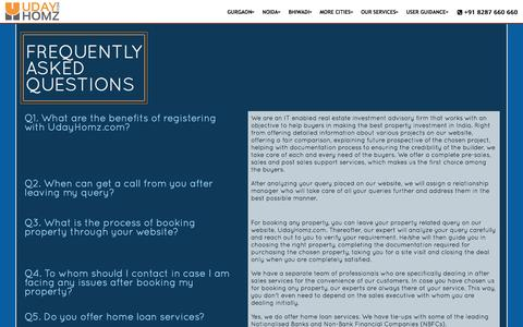 Screenshot of FAQ Page udayhomz.com - Property in India | India's Best Real Estate Portal | UdayHomz.com - captured Dec. 19, 2015
