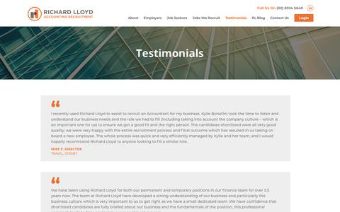 Screenshot of Testimonials Page richardlloyd.com.au - Testimonials from Our Clients  - Richard Lloyd - captured Oct. 20, 2018
