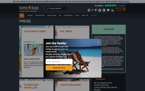 Screenshot of Press Page totstoo.com - Press - Tots Too - captured Sept. 23, 2018
