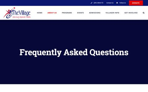 Screenshot of FAQ Page villagelac.org - Frequently Asked Questions – The Village - captured Dec. 20, 2018