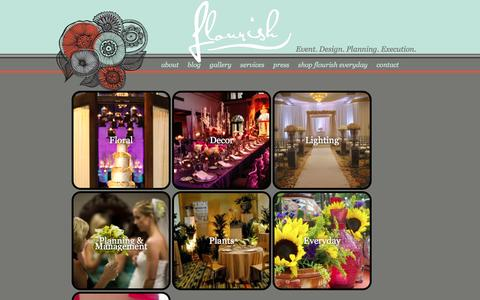 Screenshot of Services Page flourishproductions.com - Flourish Productions : Floral - captured March 30, 2016