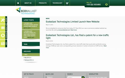 Screenshot of Press Page ecoballast.com - News | Ecoballast Technologies - captured Oct. 1, 2014