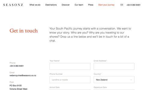 Screenshot of Contact Page seasonz.co.nz - Seasonz | Start your journey - captured Oct. 19, 2017