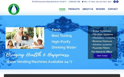 Screenshot of Home Page purewaterhealth.com - San Diego Water Purification Systems | Pure Water Health | Fresh Water - captured Sept. 19, 2017