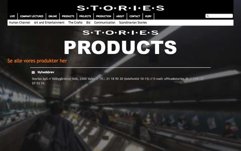Screenshot of Products Page stories.dk - Produkter - Stories - captured Sept. 26, 2015