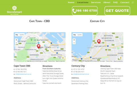Screenshot of Locations Page storesmart.co.za - Locations | StoreSmart - captured July 25, 2018