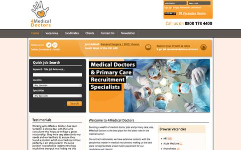 Screenshot of Home Page Privacy Page 4medicaldoctors.co.uk - Welcome to 4Medical Doctors - captured Oct. 1, 2014