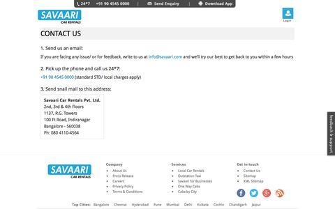 Contact Savaari Car Rentals