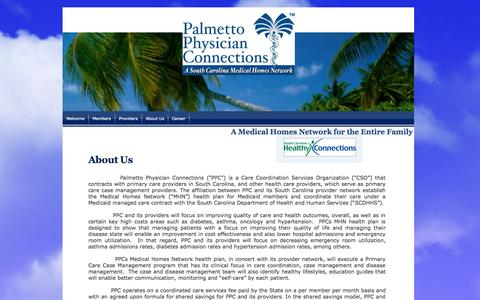 Screenshot of About Page palmettophysicianconnections.com - About Us - captured Sept. 27, 2014