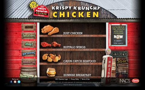 Screenshot of Menu Page krispykrunchy.com - Krispy Krunchy Menus - captured Feb. 12, 2016