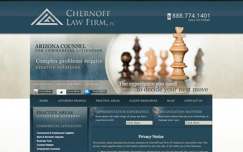 Screenshot of Privacy Page azfirm.net - Privacy Policy | Scottsdale Commercial Litigation Attorney - captured Oct. 2, 2014